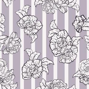 Roses on Lavender Stripes seamless pattern background.