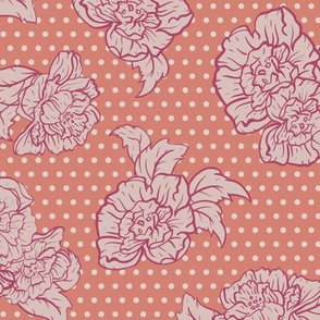 Polka Dot Roses in Red and Orange seamless pattern background.