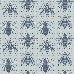 Honey Bees with Polka Dots seamless pattern background.