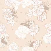 Cream Bees with Roses on dots seamless pattern background.