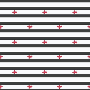 Red Bees Shapes on Black and White Stripes seamless pattern background.