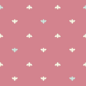 Bees Shapes on Vintage Red seamless pattern background.
