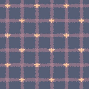 Honey Bees on Navy Plaid seamless pattern background.