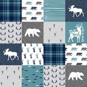 So Deerly Loved - woodland moose bear fishing patchwork  (slate)  C19BS