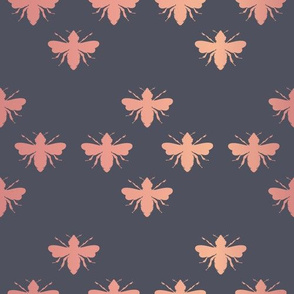 Bees with Rose Gold Foil effect seamless pattern background.