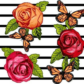 Multicolored Roses on Black and White Stripes w/ Butterflies