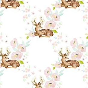 """4"""" Blush Floral Deer"""