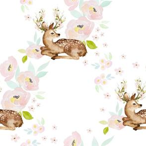 """18"""" Blush Floral Deer"""