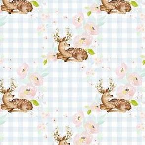 """4"""" Blush Floral Deer Blue Gingham Back"""
