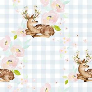"""8"""" Blush Floral Deer Blue Gingham Back"""