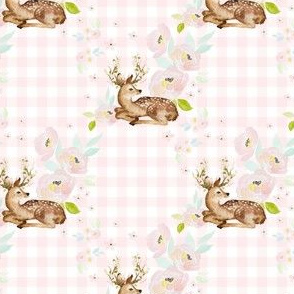 """4"""" Blush Floral Deer Pink Gingham Back"""