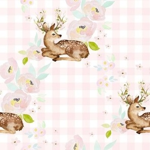 "8"" Blush Floral Deer Pink Gingham Back"