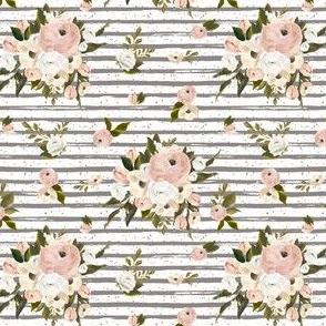 """4"""" Cream and White Florals Garden Dark Tan"""