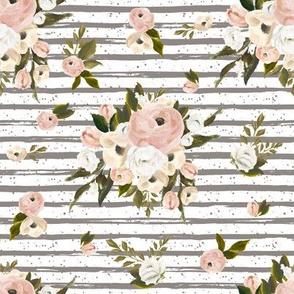 """8"""" Cream and White Florals Garden Dark Tan"""