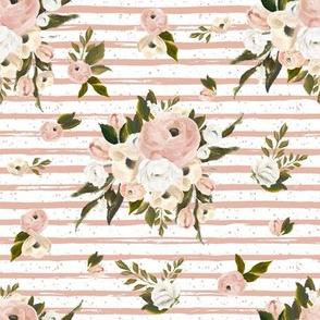 "8"" Cream and White Florals Garden Peach Back"