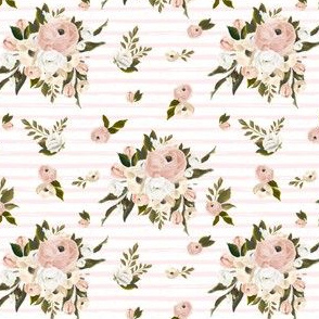 """4"""" Cream and White Florals Garden Pink Stripes"""