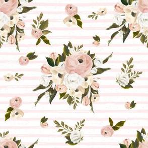 """8"""" Cream and White Florals Garden Pink Stripes"""