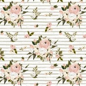 "4"" Cream and White Florals Garden Tan Back"