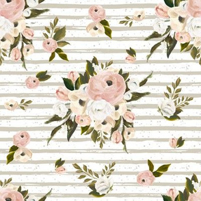 "8"" Cream and White Florals Garden Tan Back"