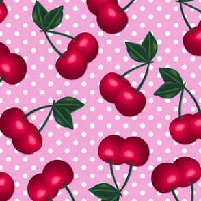 Cherries on Pink Polka Dots - Large Scale