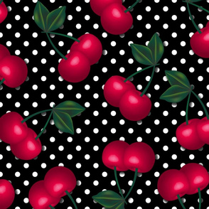 Cherries on Black and White Polka Dots - Large Scale
