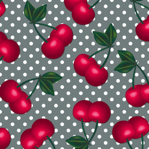 Cherries on Gray Polka Dots - Large Scale
