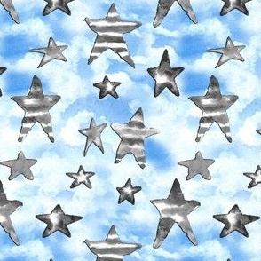 USA Black White Stars Blue Clouds