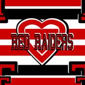 Texas Tech Red White Black Team School Colors Stripes Heart