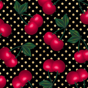 Cherries on Gold Polka Dots - Large Scale
