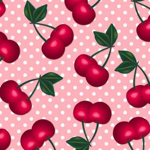 Cherries on Peach Polka Dots - Large Scale