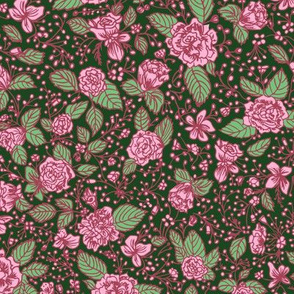 Pink rose florals with leaves