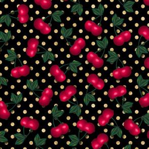 Cherries on Gold Polka Dots