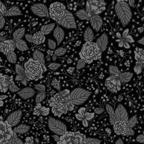 Black and grey rose florals with leaves