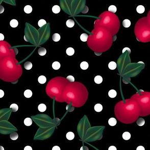 Cherries on Black and White Polka Dots