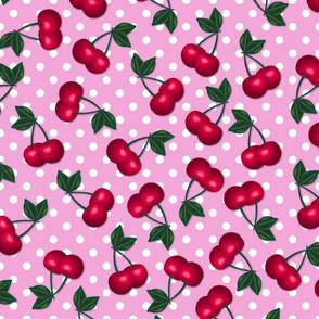 Cherries on Pink Polka Dots