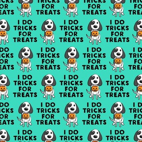 (small scale) I do tricks for treats - dog halloween - teal - LAD19BS