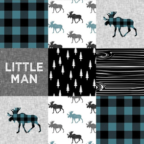 little man patchwork quilt top || moose buffalo plaid - custom teal C19BS