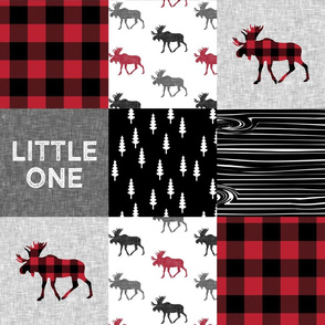 little one patchwork quilt top || moose buffalo plaid