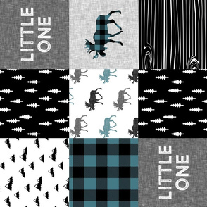 little one patchwork quilt top || moose buffalo plaid - custom teal C19BS