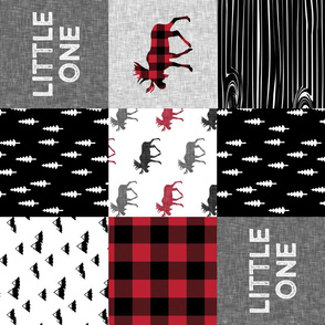 little one patchwork quilt top || moose buffalo plaid (90)