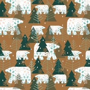 Bears in the Woods - green & brown - large