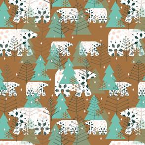 Polar Bears earth tones mint green trees 3000x3000-01