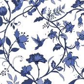Hummingbird Chintz / blue and white