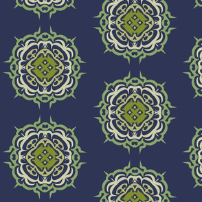 Navy Blue with green mandala flowers