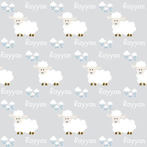 Little sheep- white blue hearts white text PERSONALIZED for Rayyan