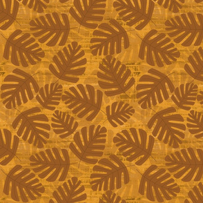 Painted Brown Jungle Leaves