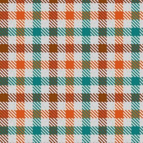 Custom Tri Color Brown Orange and Teal Gingham