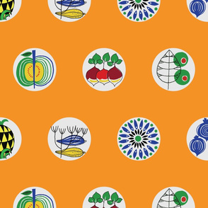 Pyrex inspired big dots on orange