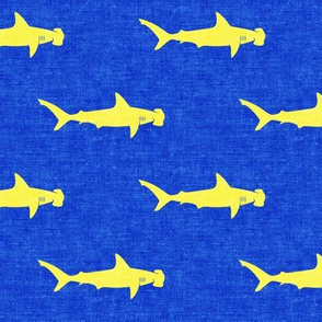 hammerhead sharks - yellow on blue - LAD19