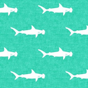 hammerhead sharks on teal - LAD19